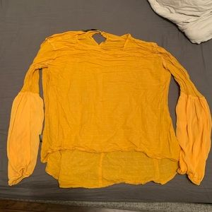 Mustard Yellow Puff Sleeve Blouse